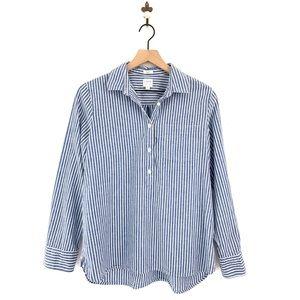 J.Crew Blue Striped Popover Boyfit Shirt Medium